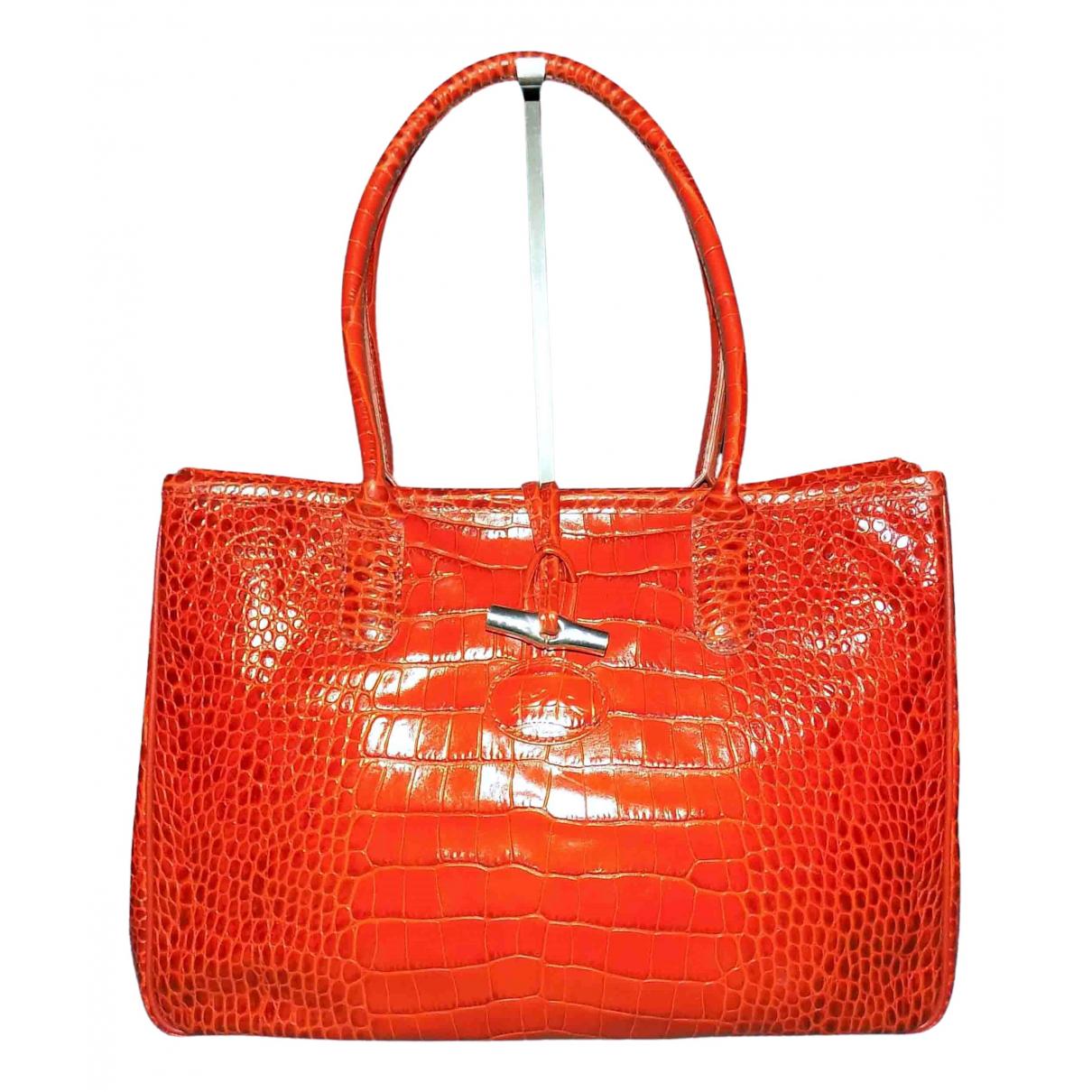 Longchamp Roseau Handtasche in  Orange Leder