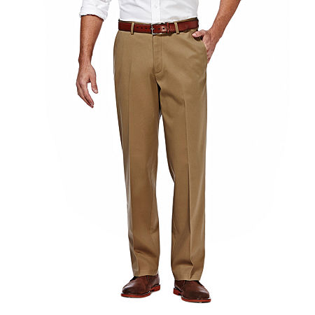 Haggar Premium No Iron Classic-Fit Flat-Front Khakis, 36 30, Beige