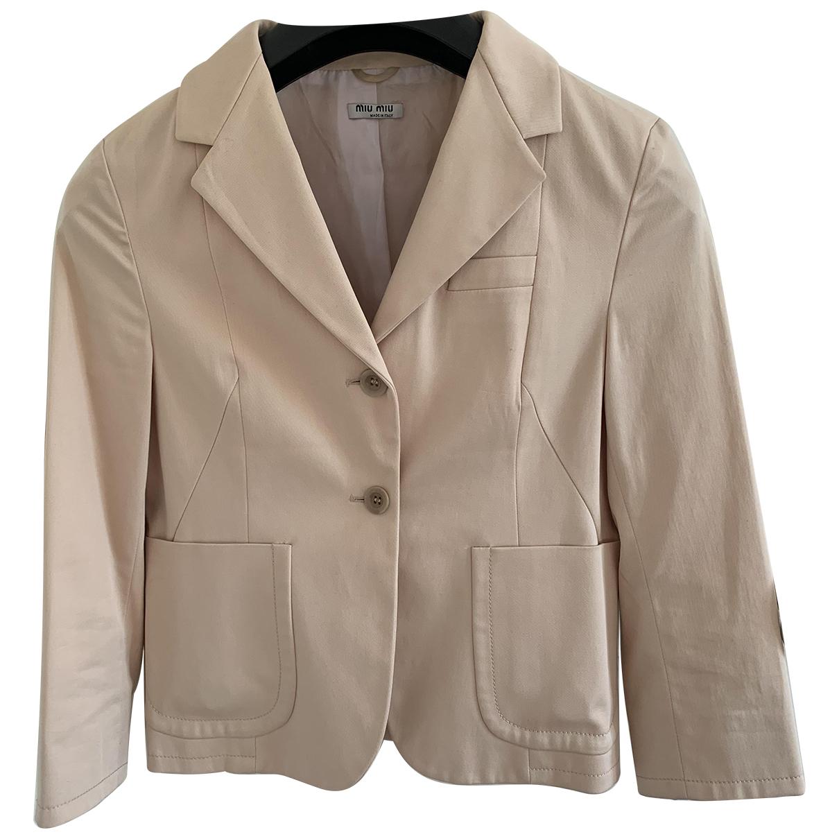 Miu Miu N Beige Cotton jacket for Women 40 IT