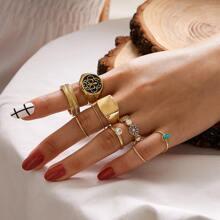 9 Stuecke Ring mit Strass & Blumen Dekor