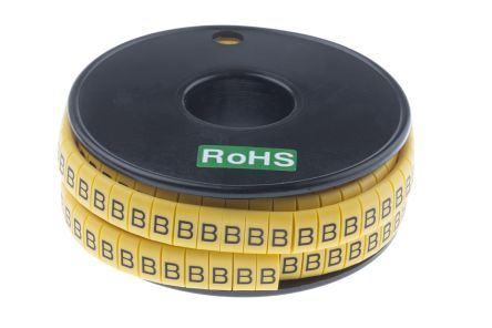 RS PRO Slide On Cable Marker, Pre-printed B Black on Yellow 3.5 → 7mm Dia. Range
