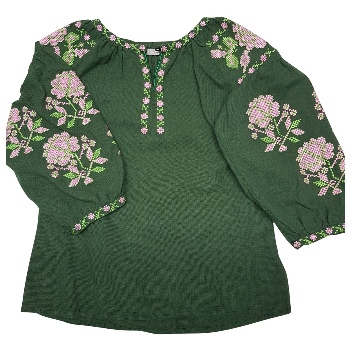 Non Signé / Unsigned \N Green Cotton  top for Women 36 FR