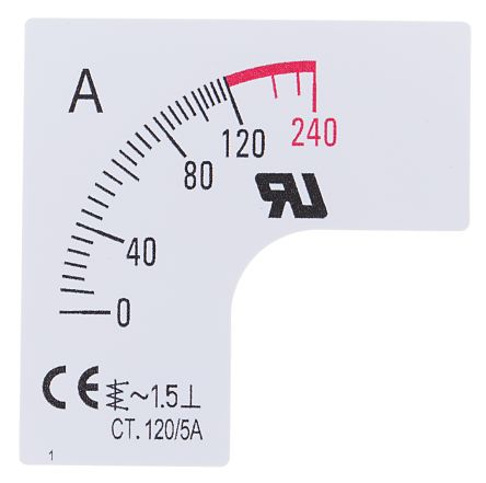 RS PRO Meter Scale, 120A, for use with 48 x 48 Analogue Panel Ammeter