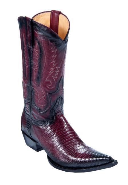 Men's Los Altos Genuine Teju Lizard Faded Burgundy Boots Cowboy Heel