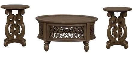 Parisian Marketplace Collection 598-OT-O3PCS Cocktail and End Table Set with Decorative Scrolled Carvings  Bun Feet and Bead Molding   in Heathered