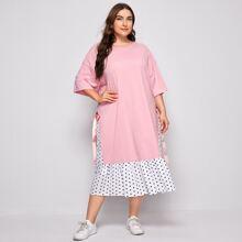2 In 1 Kleid mit seitlichen Knoten und Punkten Muster