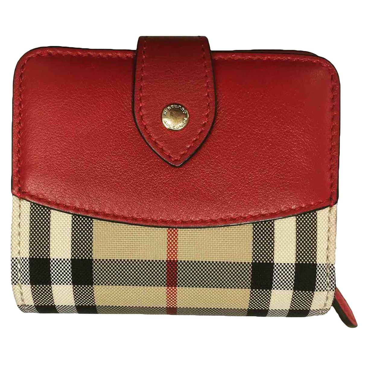 Burberry - Portefeuille   pour femme en toile - rouge