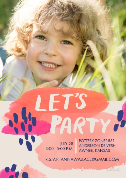 Birthday Party Invites 5x7 Cards, Premium Cardstock 120lb, Card & Stationery -Abstract Let's Party