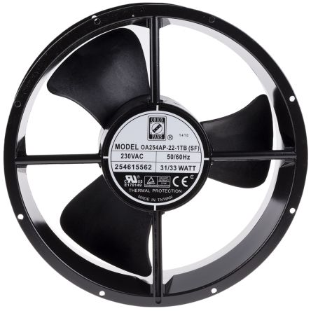 RS PRO , 230 V ac, AC Axial Fan, 254 (Dia.) x 89mm, 934.4m³/h, 33W