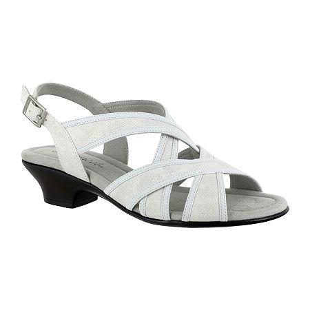 Easy Street Womens Viola Heeled Sandals, 7 1/2 Medium, White