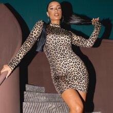 Mock Neck Leopard Bodycon Dress