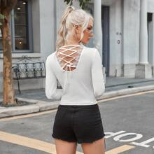 Lace Up Back Lace Trim Tee