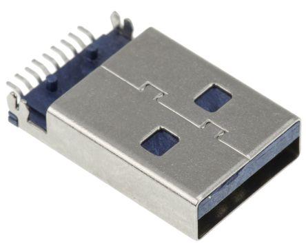 Wurth Elektronik , WR-COM USB Connector, Through Hole, Plug 3.0 A, Solder, Right Angle