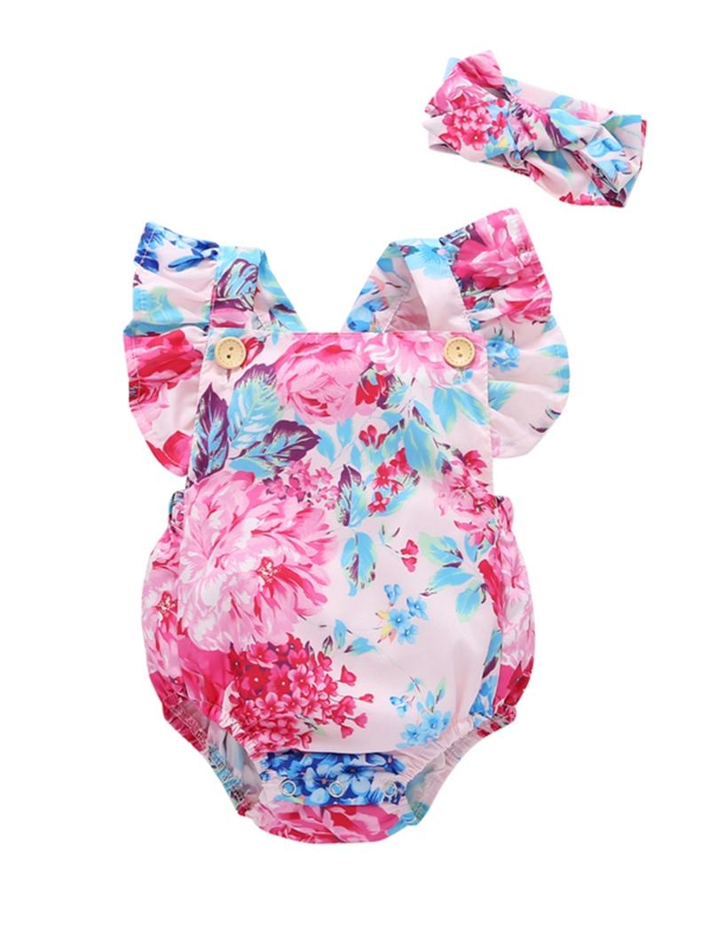 Ericdress Floral Print Suspender Ruffles Baby Girl's Bodysuit