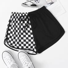Checkered Panel Knot Waist Track Shorts