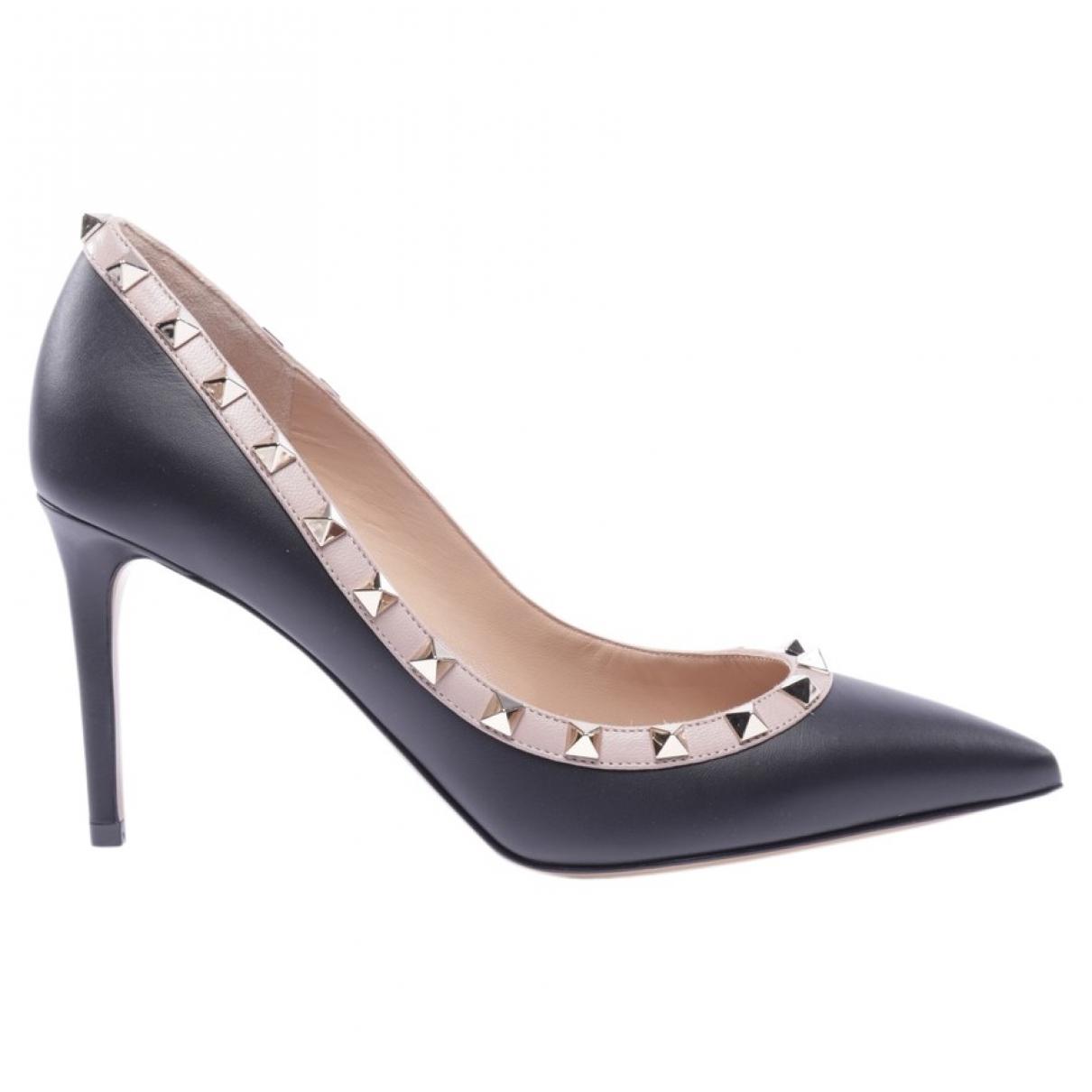 Valentino Garavani Rockstud Black Leather Heels for Women 38.5 EU