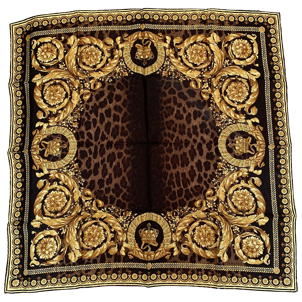 Versace \N Brown Silk Silk handkerchief for Women \N