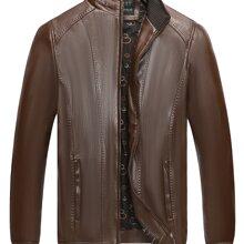 PU Leder Jacke mit Reissverschluss vorn und Stehkragen