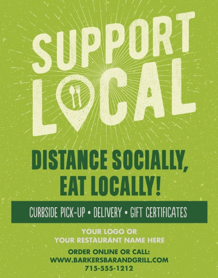 COVID-19 11x14 Adhesive Poster, Home Décor -Support Local Eats