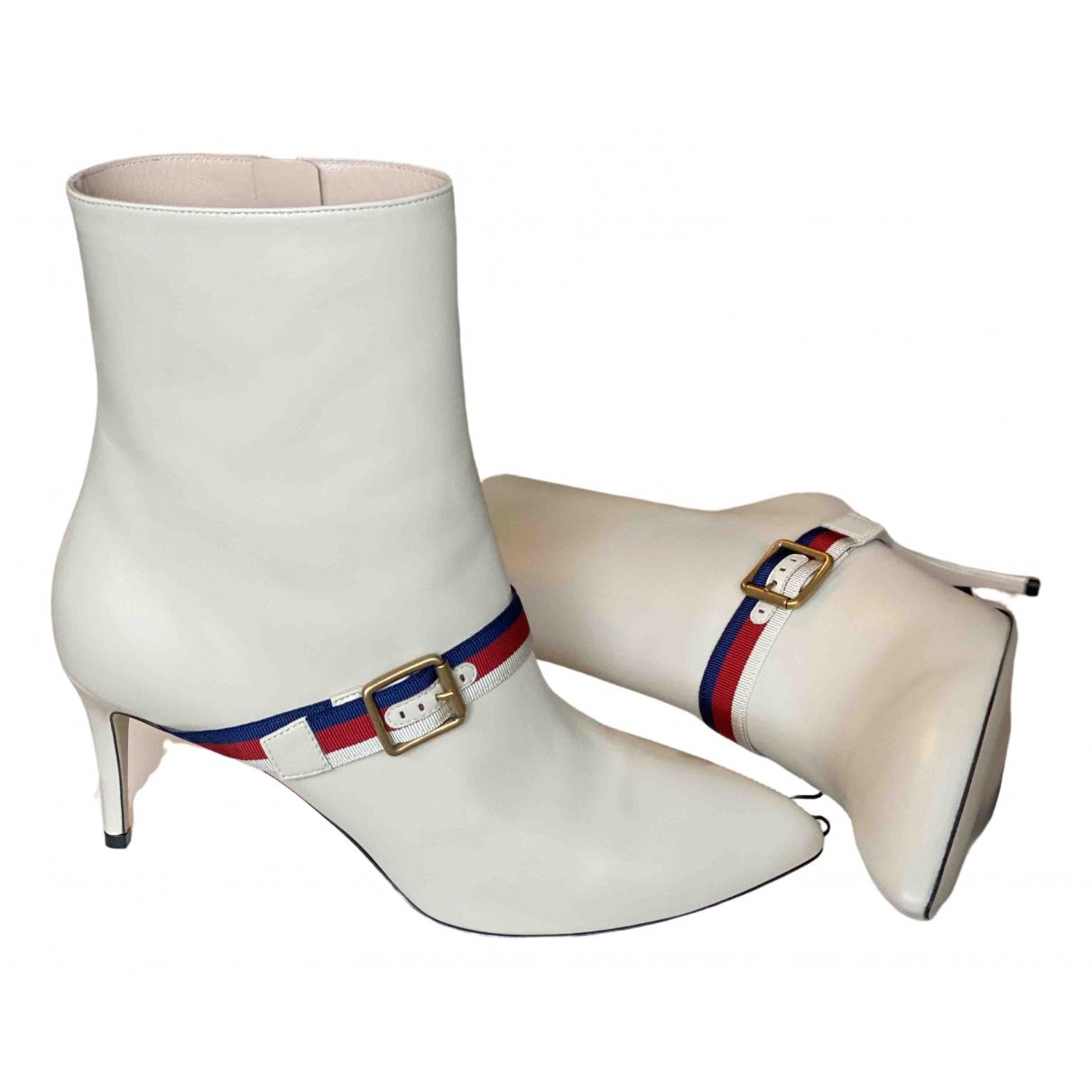 Gucci - Boots   pour femme en cuir - blanc