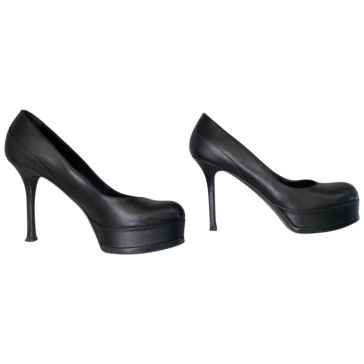 Saint Laurent \N Black Leather Heels for Women 37.5 EU