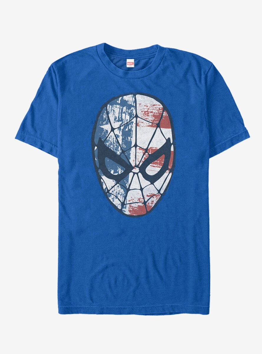 Marvel 4th of July Spider-Man American Flag Mask T-Shirt