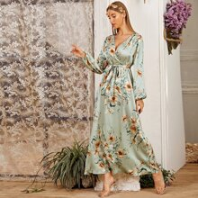 Floral Print Self Belted Balloon Sleeve Wrap Dress