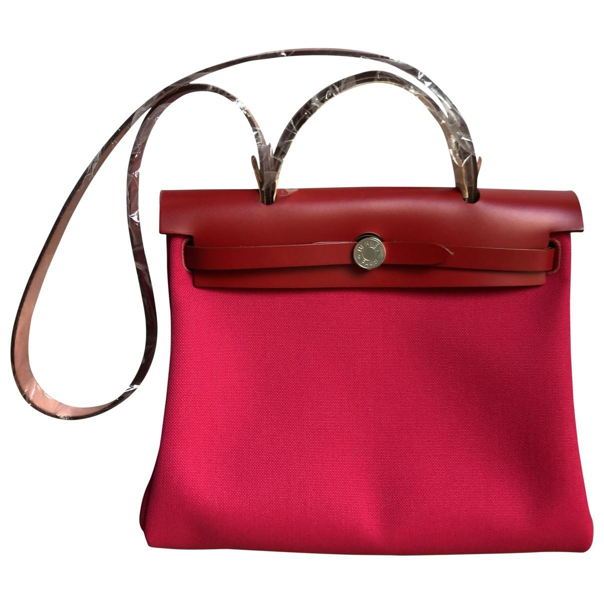 Hermes Herbag Handtasche in  Rot Leinen