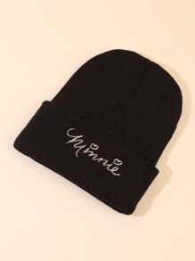 Letter Embroidery Knit Beanie
