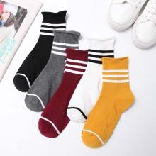Striped Hem Ankle Socks 5pairs