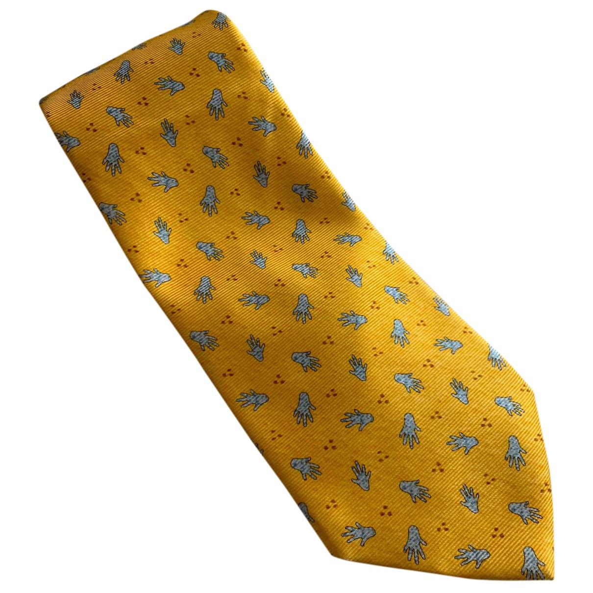 Bvlgari N Yellow Silk Ties for Men N