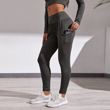 Solid Wide Waistband Sports Pants With Phone Pocket