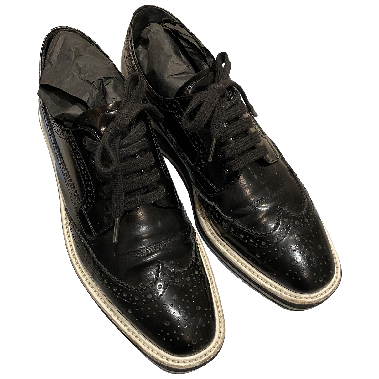 Prada \N Black Leather Lace ups for Women 37 EU