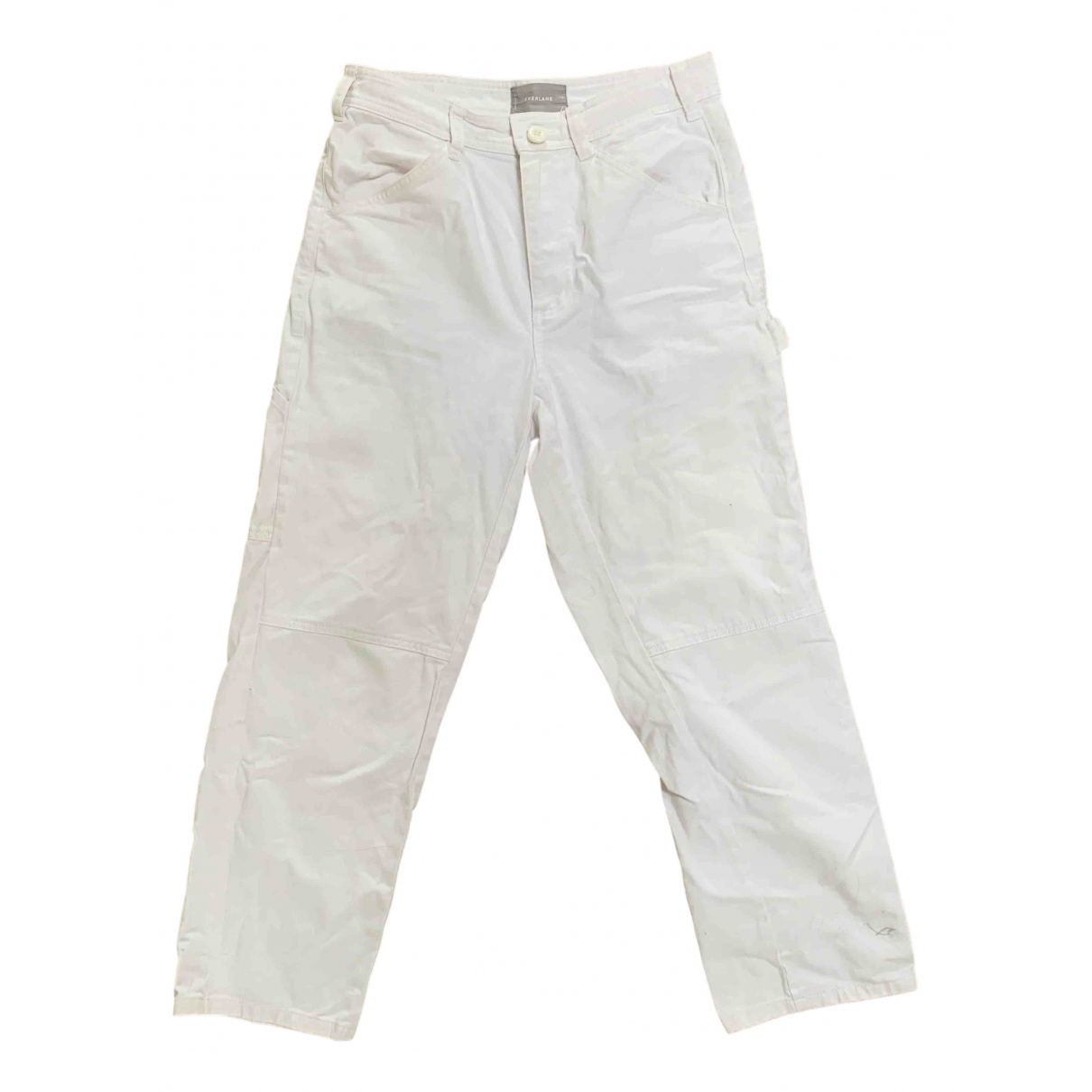 Everlane \N White Cotton Trousers for Women 6 US
