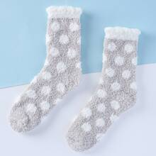 Polka Dot Fuzzy Socks