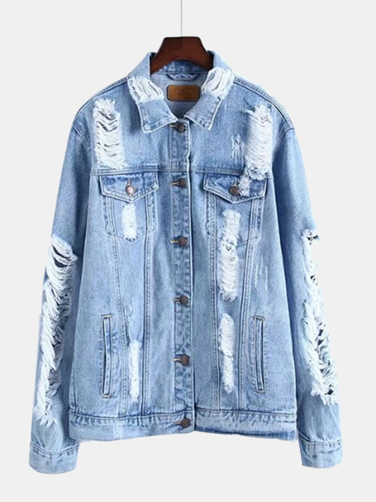 Ripped Solid Color Long Sleeve Denim Coat