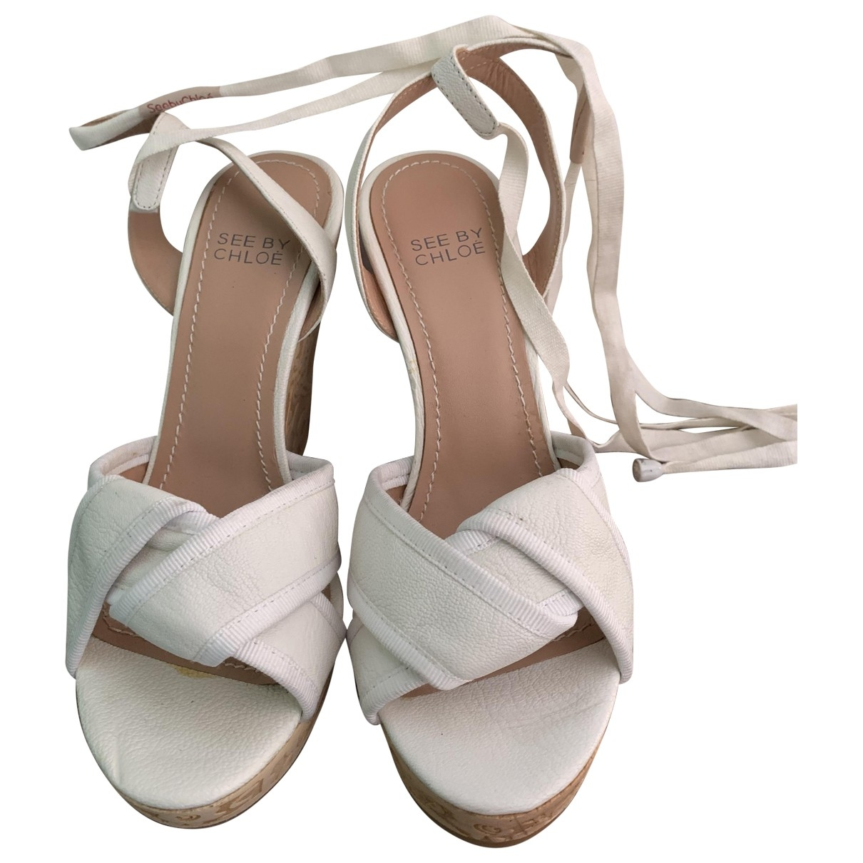 See By Chloé \N White Leather Sandals for Women 37 EU