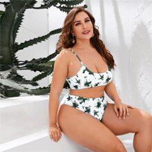 Grosse Grossen - Bikini Badeanzug mit Batik und hoher Taille