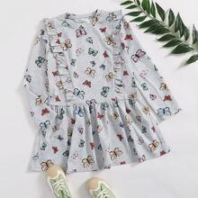 Kleid mit Schmetterling Muster und Rueschen