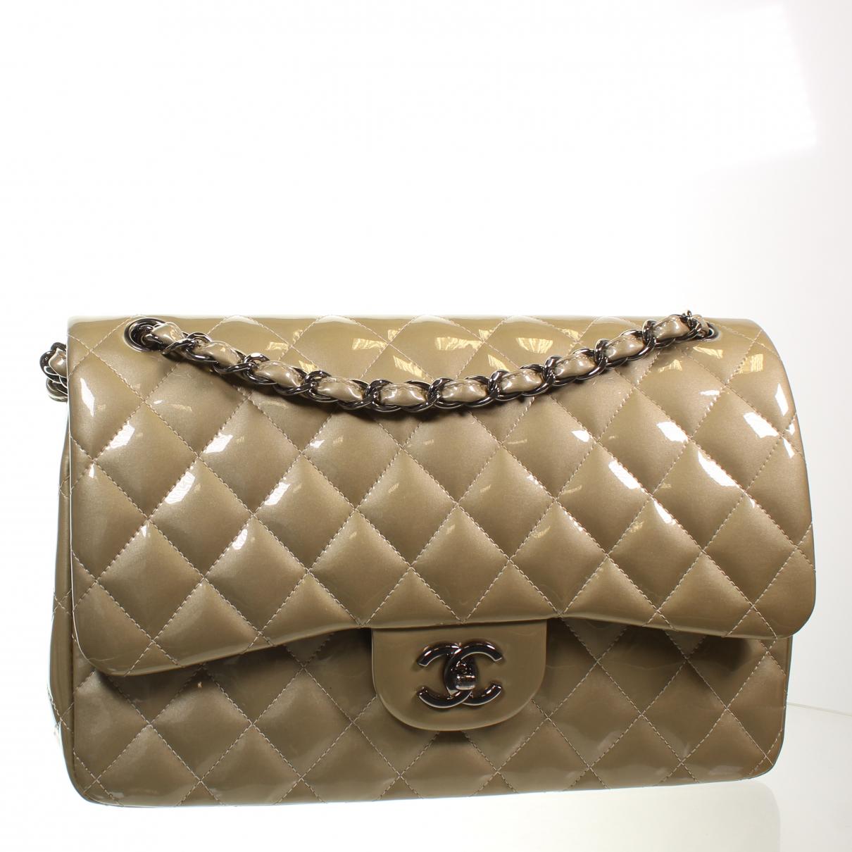 Chanel N Grey Patent leather handbag for Women N