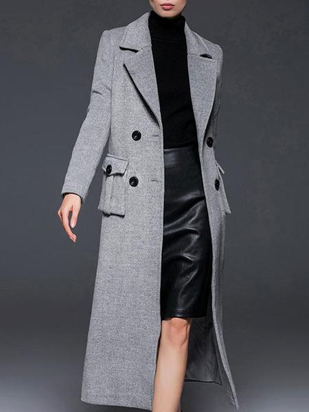 Milanoo Grey Pea Coat Notch Collar Long Sleeve Women's Wool Coats