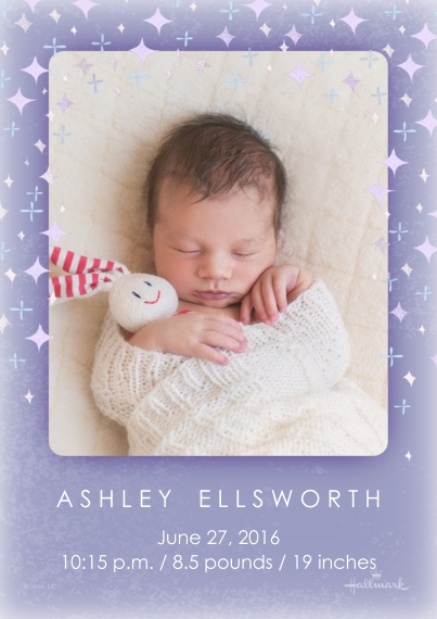 Newborn 5x7 Cards, Standard Cardstock 85lb, Card & Stationery -Starry Announcement - Purple