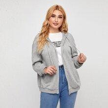 Plus Drop Shoulder Zipper Up Hooded Sweatshirt