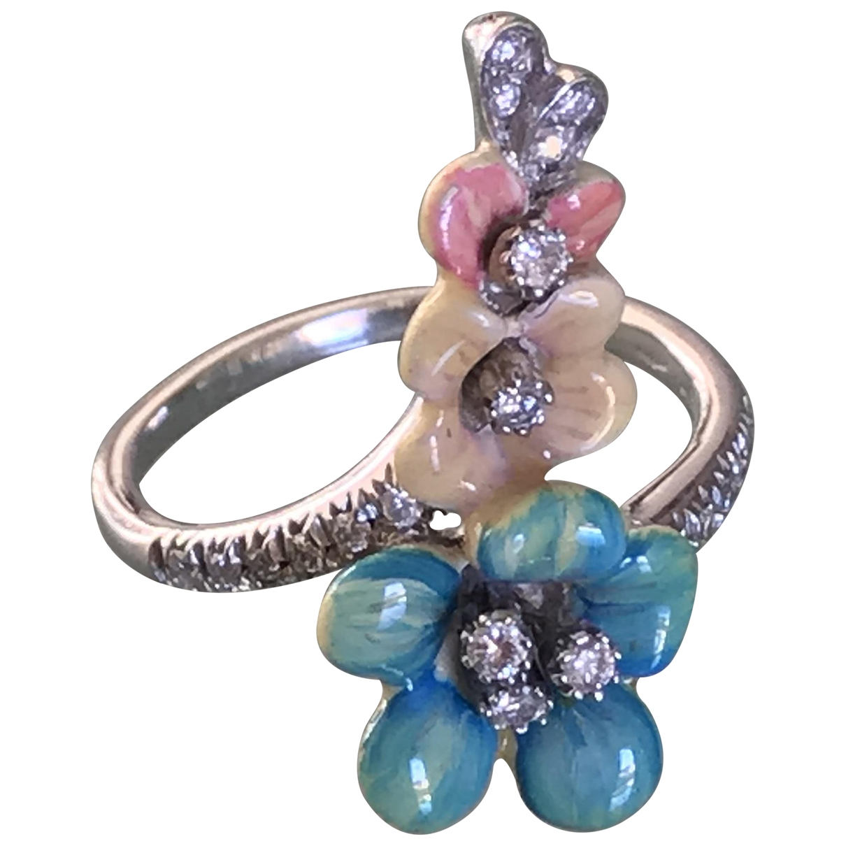 Non Signe / Unsigned Motifs Floraux Ring in Weissgold