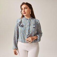 Bluse mit Rueschen und Gaensebluemchen Muster
