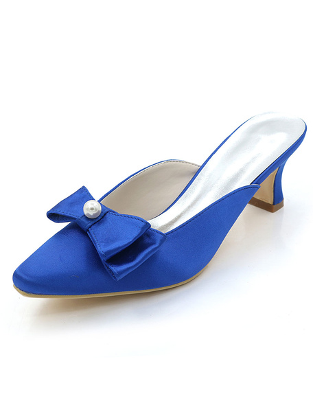 Milanoo Zapatos de novia de saten 5.5cm Zapatos de Fiesta Zapatos dorado  de tacon gordo Zapatos de boda de puntera cuadrada con lazo