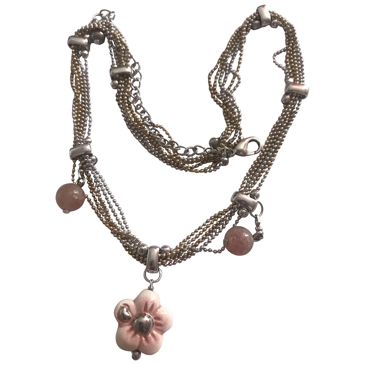 Non Signe / Unsigned Motifs Floraux Kette in  Rosa Keramik
