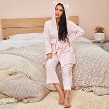 Conjunto de pijama de franela con capucha con oreja 3D con cinturon con doble bolsillos