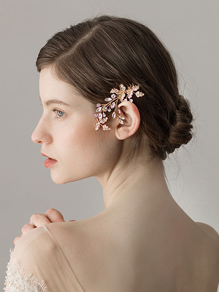 Milanoo Comb Wedding Headpieces Gold Beading Bridal Hair Accessories
