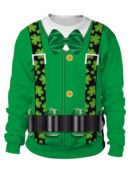 Milanoo St Patricks Day Sweatshirt Green Pullover Clover Printed Unisex Irish Long Sleeve Top Halloween